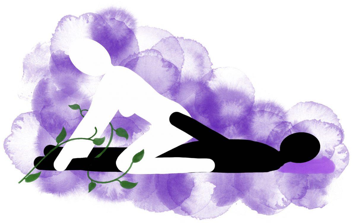 Stilling: Hun øverst, lent mot føttene hans
