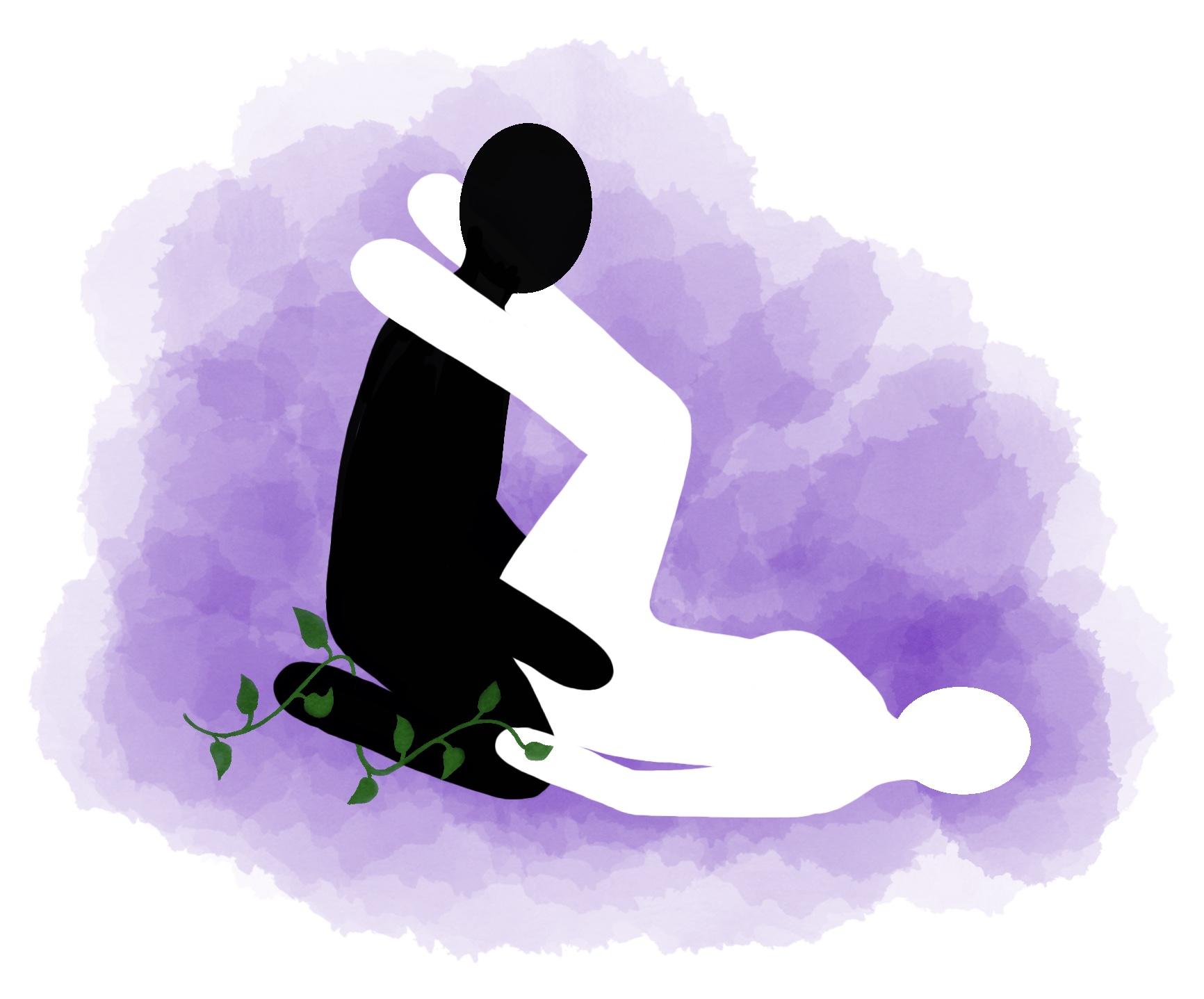 Stilling: Han kneler med føttene hennes på skuldrene