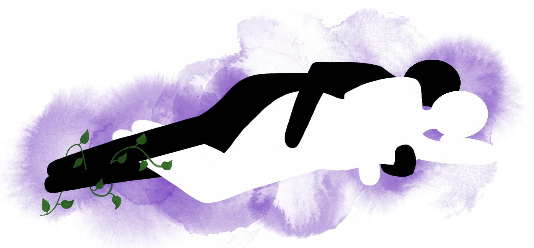 Stilling: Skje med beina flettet