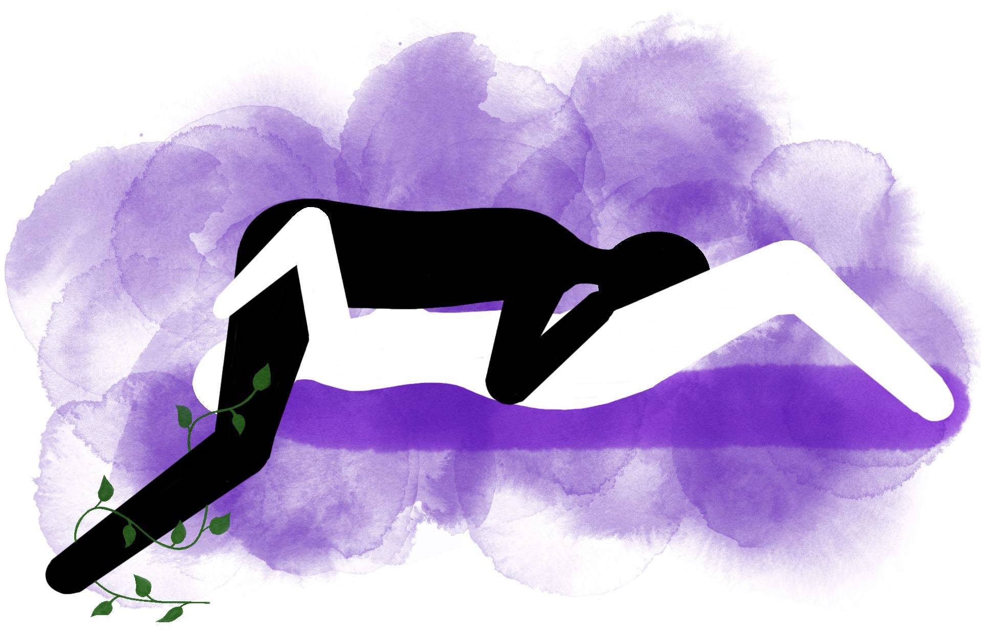 69-stilling: Hun ligger på sengen og han står over henne