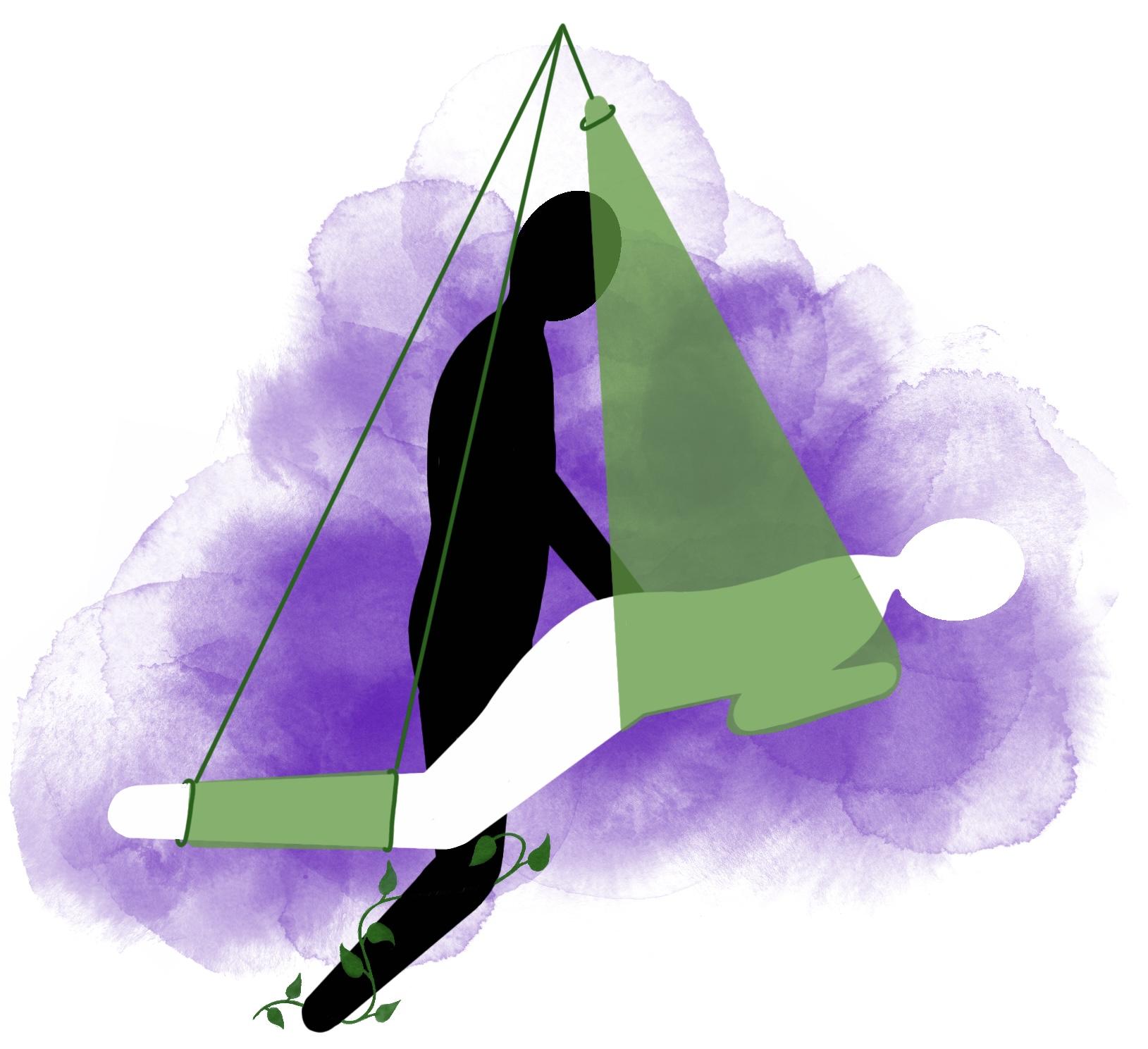 Stilling: Hun på magen med strake bein i en slynge